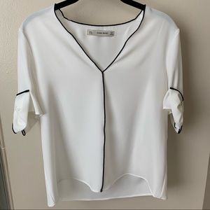 Zara - White V-neck Top / Blouse with Bow Sleeves
